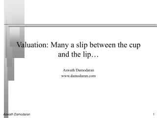 Valuation: Many a slip between the cup and the lip