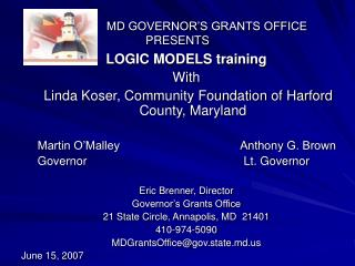 MD GOVERNOR'S GRANTS OFFICE PRESENTS