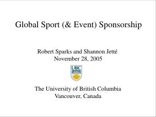 Global Sport (& Event) Sponsorship
