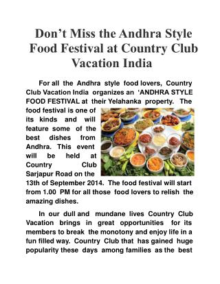 Andhra Style Food Festival at Country Club Vacation