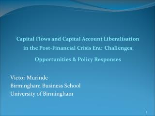 Victor Murinde Birmingham Business School  University of Birmingham
