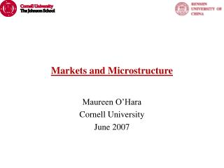 Markets and Microstructure