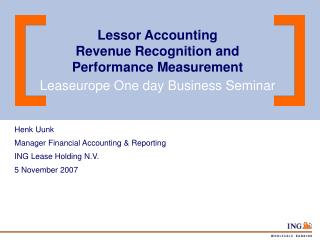Lessor Accounting  Revenue Recognition and Performance Measurement