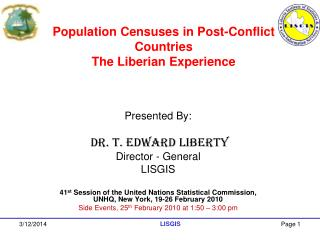 Population Censuses in Post-Conflict Countries  The Liberian Experience