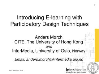 Introducing E-learning with Participatory Design Techniques