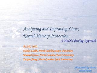 Analyzing and Improving Linux  Kernel Memory Protection