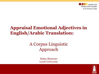 Appraisal Emotional Adjectives in 	English/Arabic Translation: