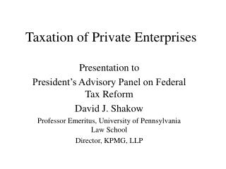 Taxation of Private Enterprises