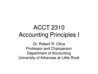 ACCT 2310                    Accounting Principles I