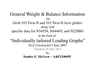 General Weight & Balance Information  for Grob 103 Twin II and 103 Twin II Acro gliders along with