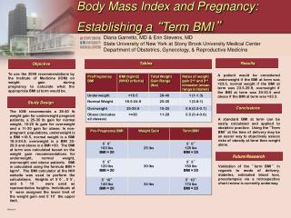 "Body Mass Index and Pregnancy:  Establishing a  "" Term BMI """