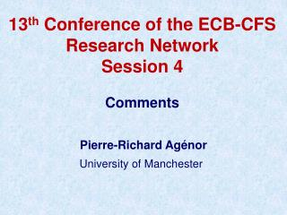 13 th  Conference of the ECB-CFS Research Network Session 4 Comments