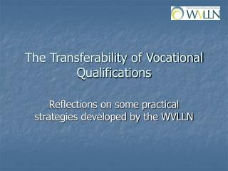 The Transferability of Vocational Qualifications
