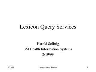 Lexicon Query Services