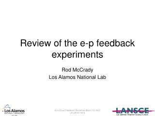 Review of the e-p feedback experiments