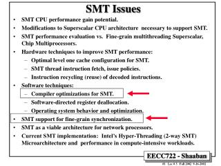 SMT Issues
