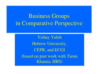 Business Groups  in Comparative Perspective