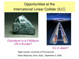 Opportunities at the  International Linear Collider (ILC )