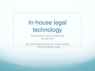 In-house legal technology