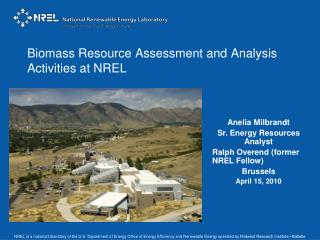 Biomass Resource Assessment and Analysis Activities at NREL
