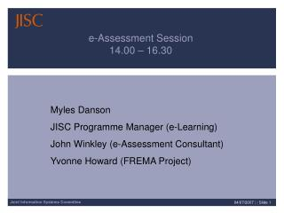 e-Assessment Session 14.00 – 16.30