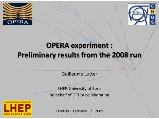 OPERA  experiment  :  Preliminary results from  the 2008  run