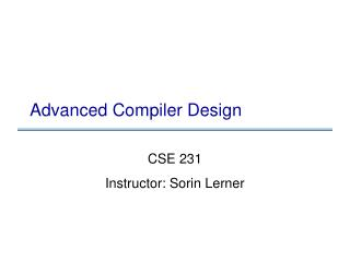 Advanced Compiler Design