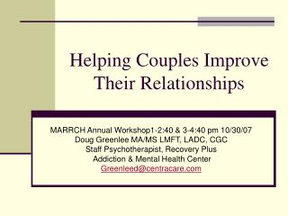 Helping Couples Improve Their Relationships
