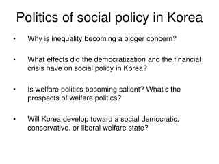 Politics of social policy in Korea