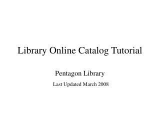Library Online Catalog Tutorial