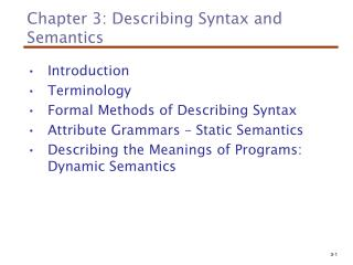 Chapter 3: Describing Syntax and Semantics