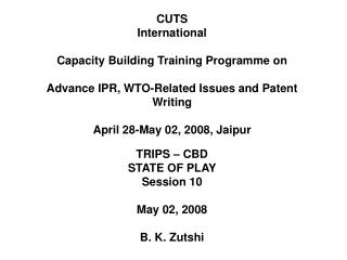 CUTS International Capacity Building Training Programme on