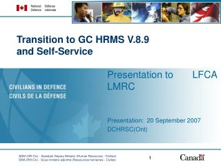 Transition to GC HRMS V.8.9  and Self-Service