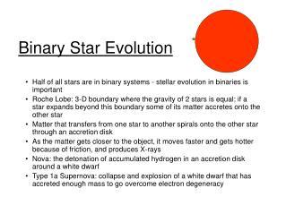 Binary Star Evolution