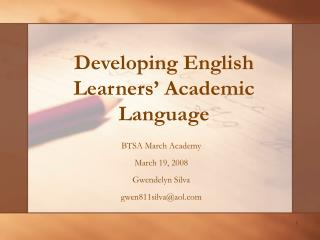 Developing English Learners' Academic Language