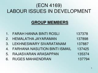 (ECN 4169) LABOUR ISSUES IN DEVELOPMENT