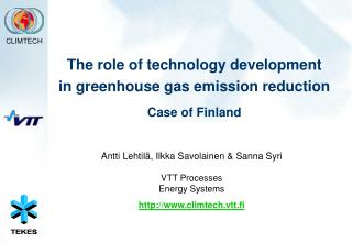 The role of technology development  in greenhouse gas emission reduction Case of Finland