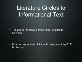 Literature Circles for Informational Text