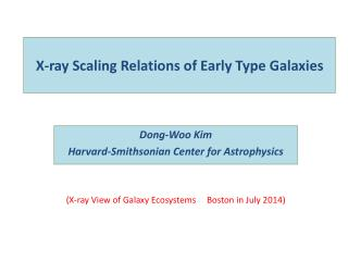 X-ray Scaling Relations of Early Type Galaxies