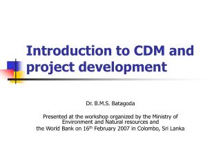 Introduction to CDM and project development