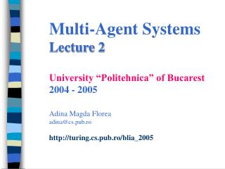 Models of agency and architectures Lecture outline