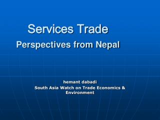 Services Trade  Perspectives from Nepal