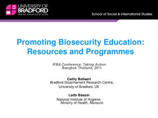Promoting Biosecurity Education:  Resources and Programmes