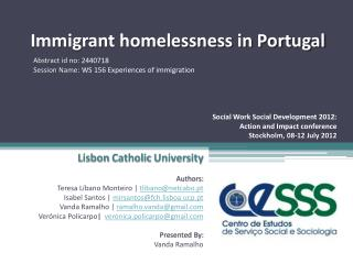 Immigrant homelessness in Portugal