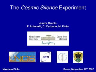 The  Cosmic Silence  Experiment