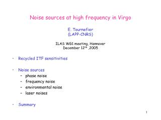 Recycled ITF sensitivities Noise sources phase noise frequency noise environmental noise