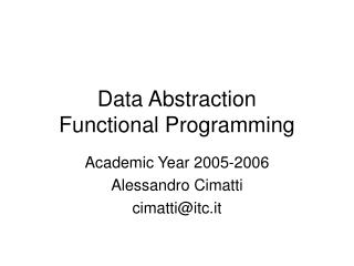 Data Abstraction Functional Programming