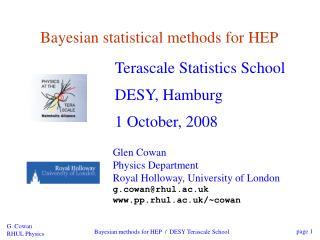 Bayesian statistical methods for HEP