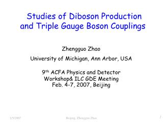 Studies of Diboson Production and Triple Gauge Boson Couplings