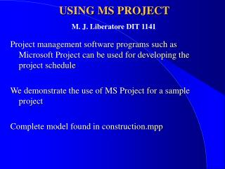 USING MS PROJECT